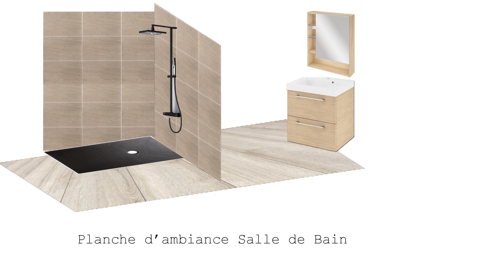 Planche d'ambiance salle de bain style industrielle